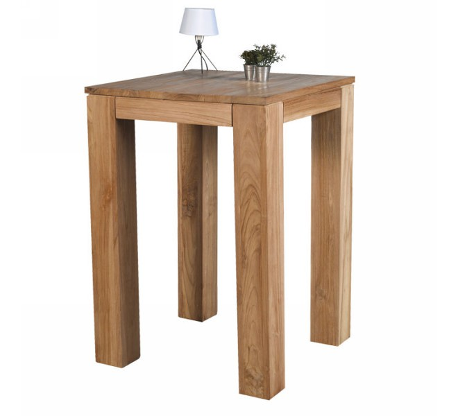 Table haute teck massif bross 70cm meuble casita born o for Cuisine en teck massif