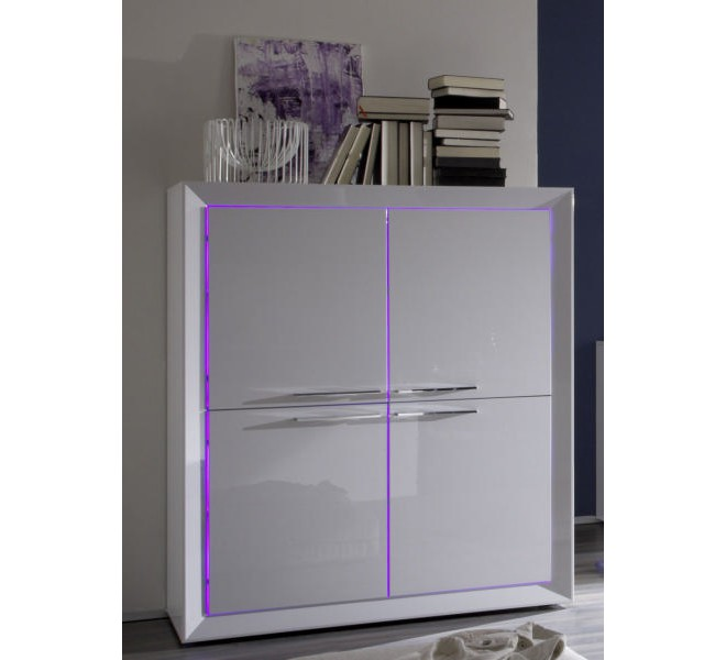 meuble haut 4 portes moderne laqu blanc vegas. Black Bedroom Furniture Sets. Home Design Ideas