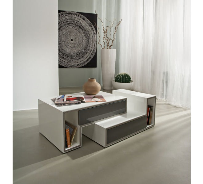 table basse blanche moderne 2 tiroirs gris cube 2686. Black Bedroom Furniture Sets. Home Design Ideas