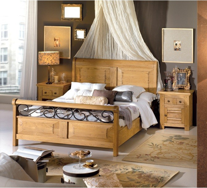 lit en ch ne massif et fer forg aur lie 140 x 190 cm 3317. Black Bedroom Furniture Sets. Home Design Ideas