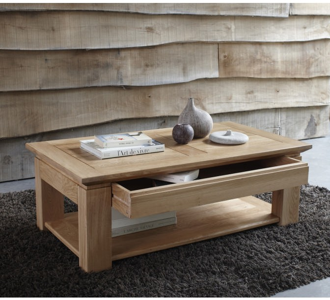 Table basse ch ne massif stockholm naturel 120cm 2143 for Table basse en chene massif