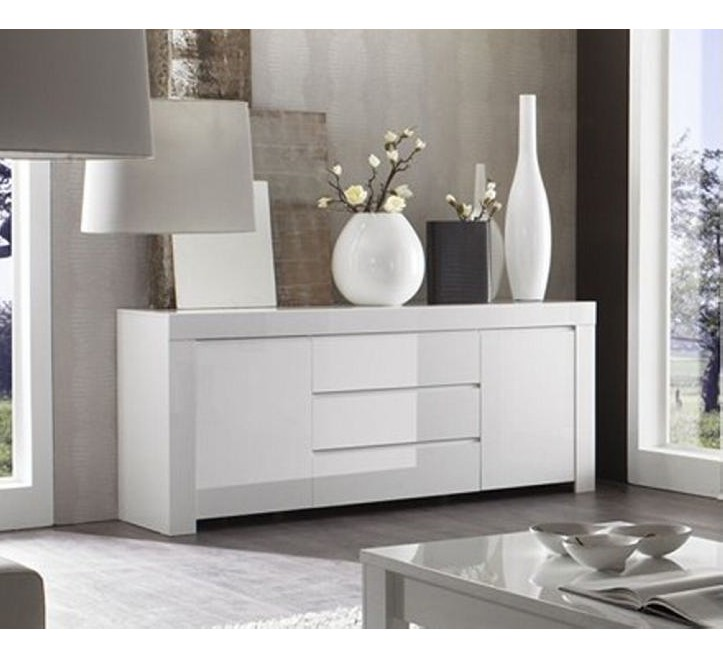 meuble de rangement 2 portes 3 tiroirs moderne laqu blanc. Black Bedroom Furniture Sets. Home Design Ideas