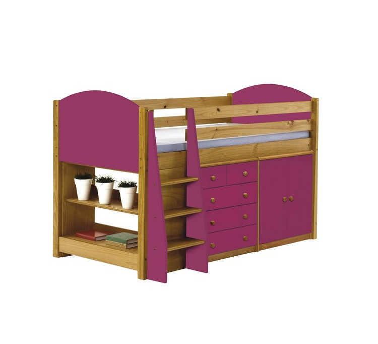 lit mi haut pin massif fushia jumbo 5140. Black Bedroom Furniture Sets. Home Design Ideas
