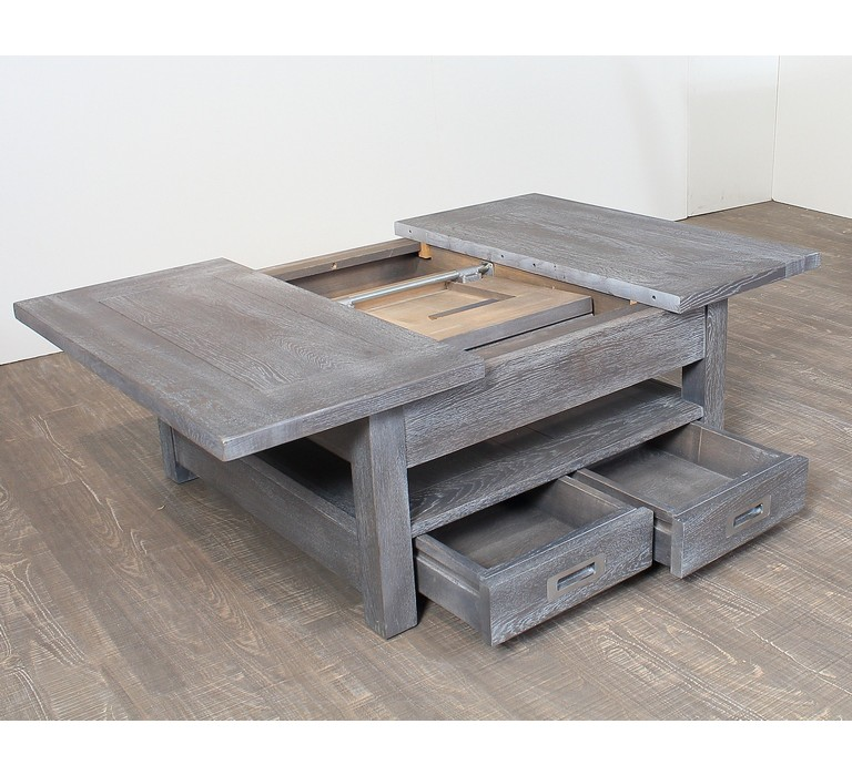 Table basse carr e avec allonge en ch ne massif bella 6770 - Table basse carree bois et fer forge ...