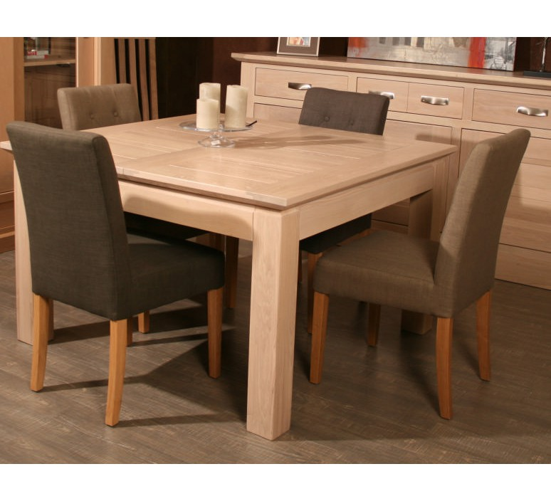 Table carr e allonge ch ne massif stockholm 140cm 3119 for Table sejour carree avec rallonge