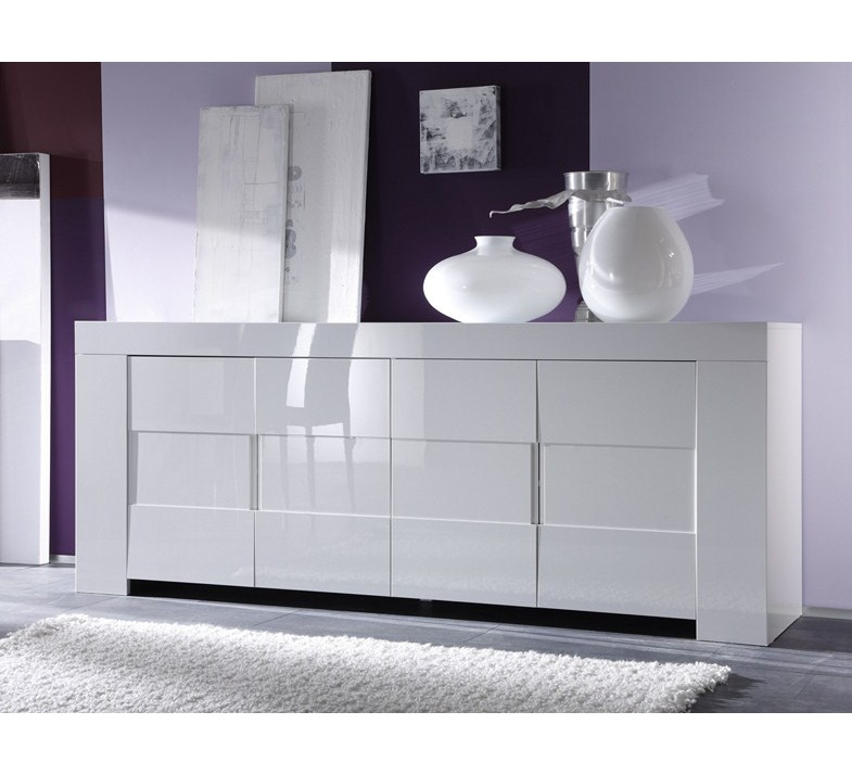 bahut moderne blanc 4 portes avril 4182. Black Bedroom Furniture Sets. Home Design Ideas