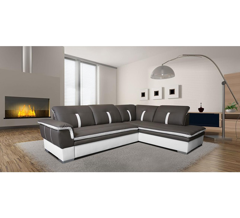 Canap d 39 angle gris d tail blanc 5130 - House canape d angle ...