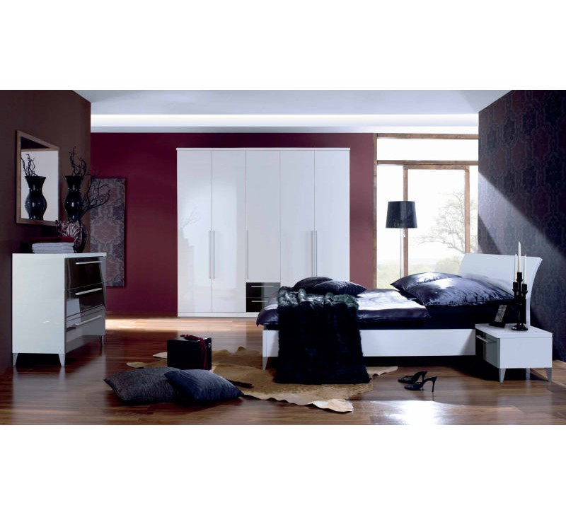lit moderne laqu blanc 140x190 180x200cm crocus 2269. Black Bedroom Furniture Sets. Home Design Ideas