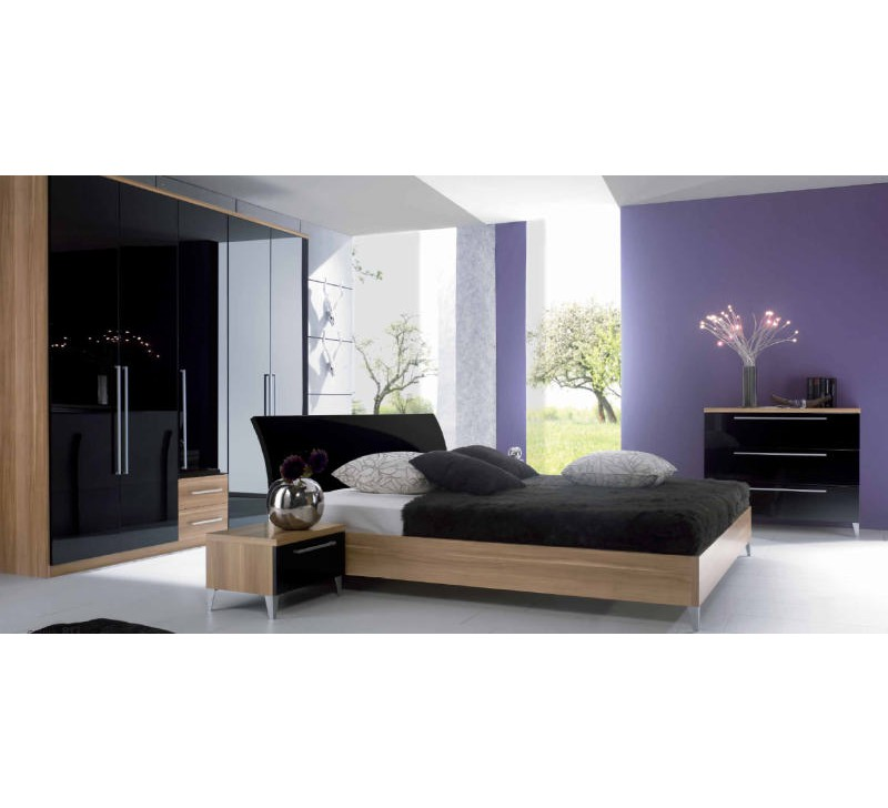 lit moderne laqu noyer noir 140x190 180x200cm marronnier 2255. Black Bedroom Furniture Sets. Home Design Ideas