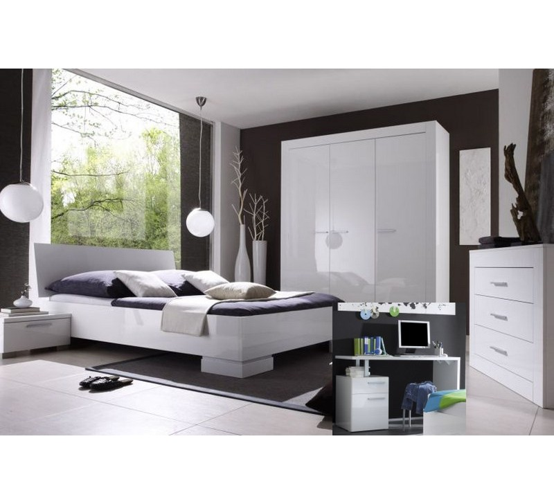 Chambre moderne laque blanche 4422 for Chambre complete moderne