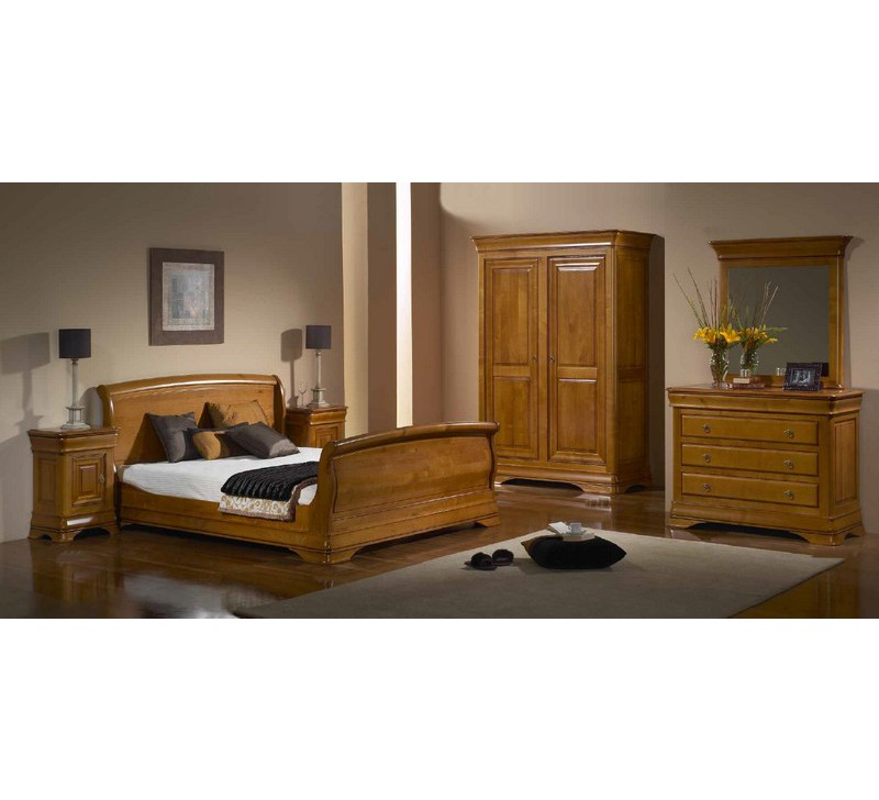 lit 140 200 pied haut merisier massif jeanne 4071. Black Bedroom Furniture Sets. Home Design Ideas