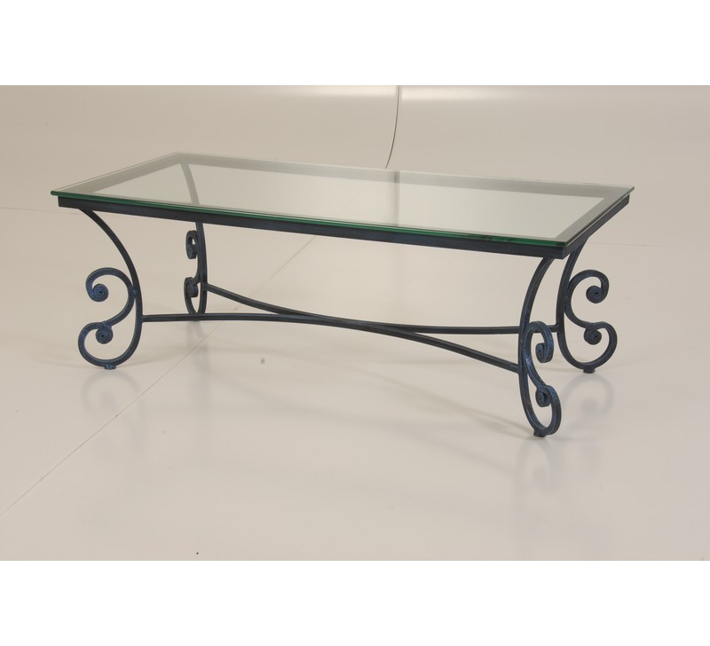Table basse plateau verre et pieds fer forg 112cm vogue for Table bar fer forge