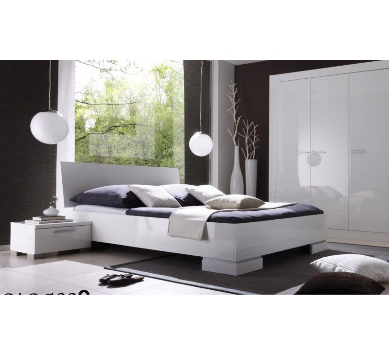 lit 160x200 moderne blanc laqu lys 1912. Black Bedroom Furniture Sets. Home Design Ideas