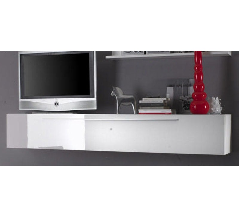 Meuble t l moderne juno 3849 for Meuble tv blanc laque suspendu