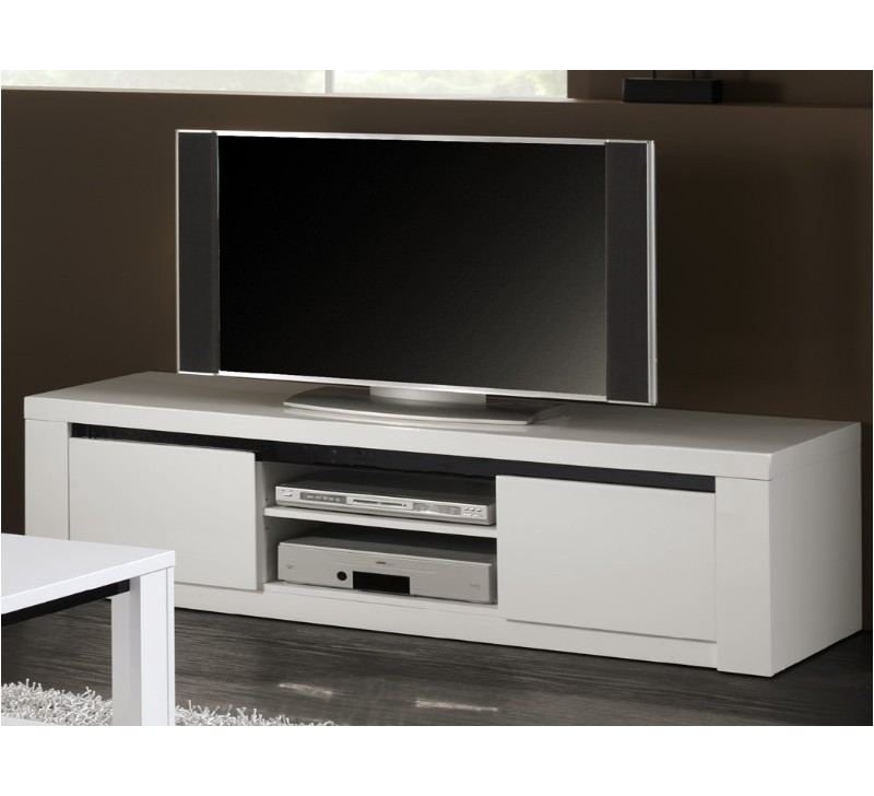 Meuble tv blanc laque fly for Meuble laque blanc