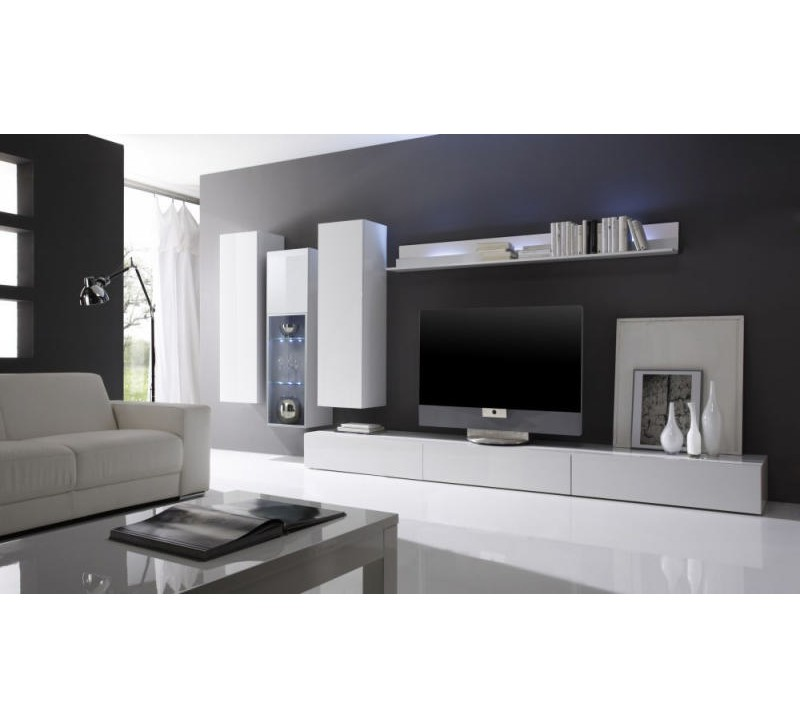 ensemble salon moderne laqu blanc gladys composition n. Black Bedroom Furniture Sets. Home Design Ideas
