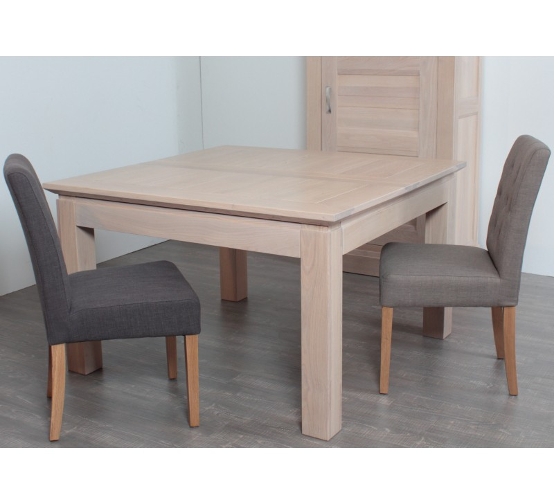 Table carr e allonge ch ne massif stockholm 140cm 3119 for Table de cuisine avec rallonge