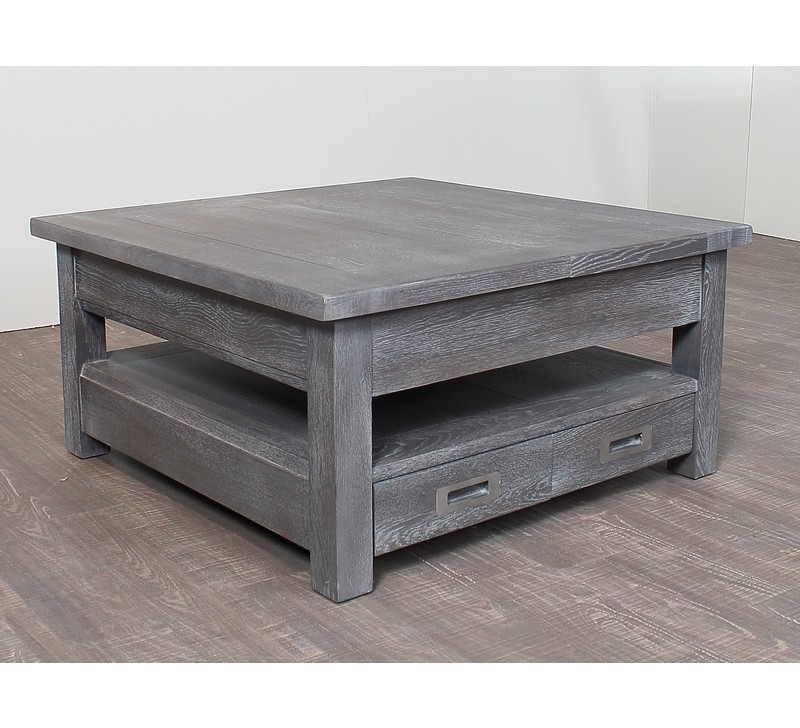 Table basse carr e ch ne massif grise bella 3822 - Table basse carree en bois ...