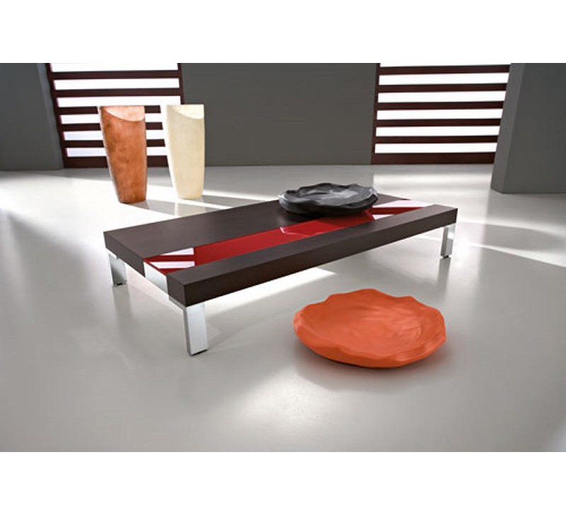table basse rectangulaire marron rouge yvons 2040. Black Bedroom Furniture Sets. Home Design Ideas