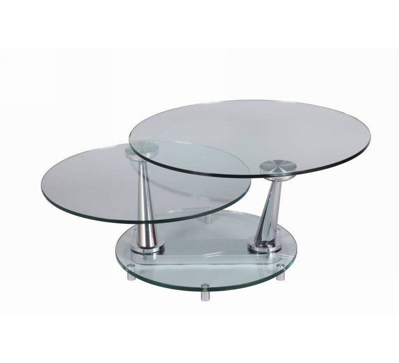 Table basse ronde verre moderne cristal 83cm 2026 - Table salon ronde ...