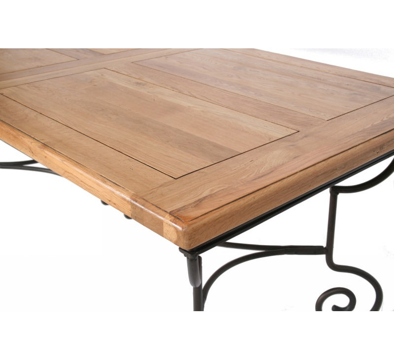 Table rectangulaire batista fer forg bois 1475 for Table en bois et fer
