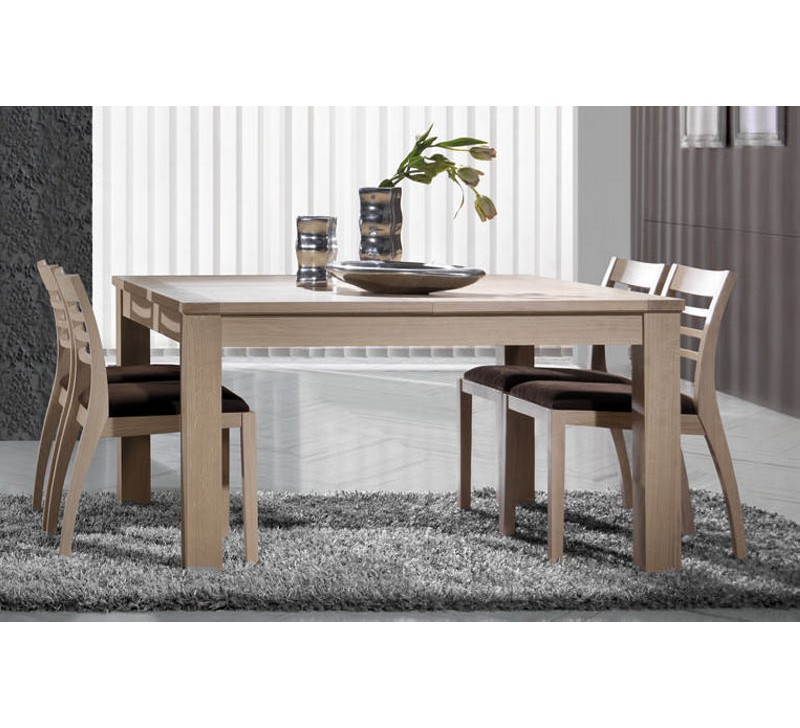 Table carr e avec 2 allonges ch ne massif clara 1932 - Table a manger carree avec rallonge ...