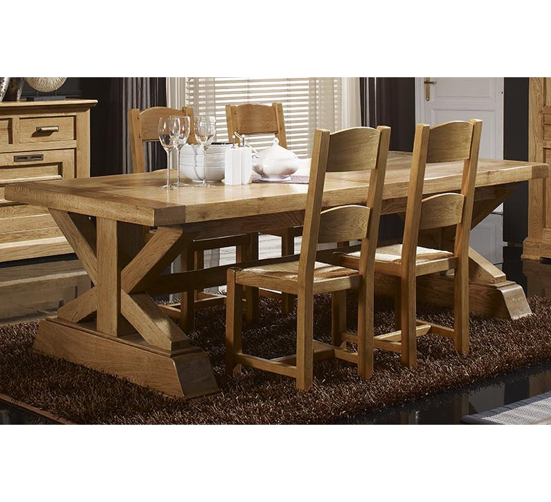 Table ch ne massif 250 cm 2 allonges de 40 cm colis e 2182 - Table en chene massif prix ...