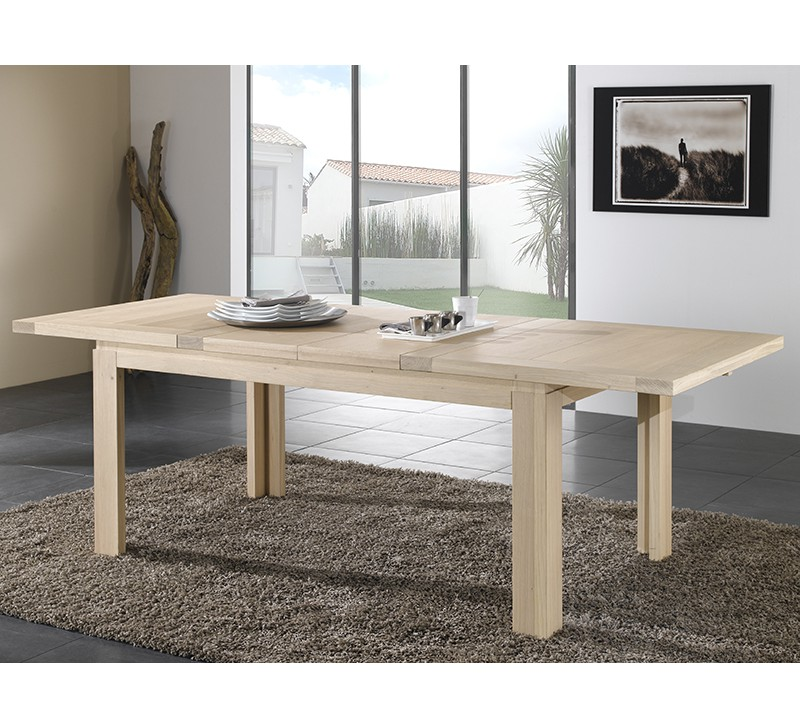 Table en ch ne massif rectangulaire ethnic 4959 - Table salle a manger chene massif contemporain ...