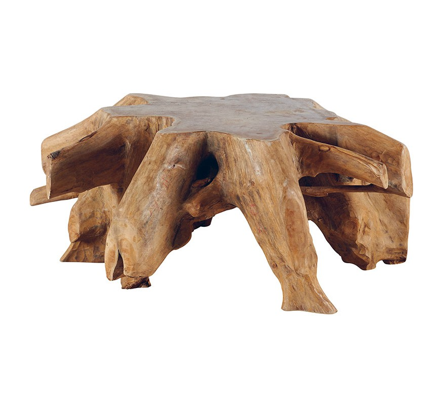 Table basse racine en teck massif roots 6736 for Table basse bois teck
