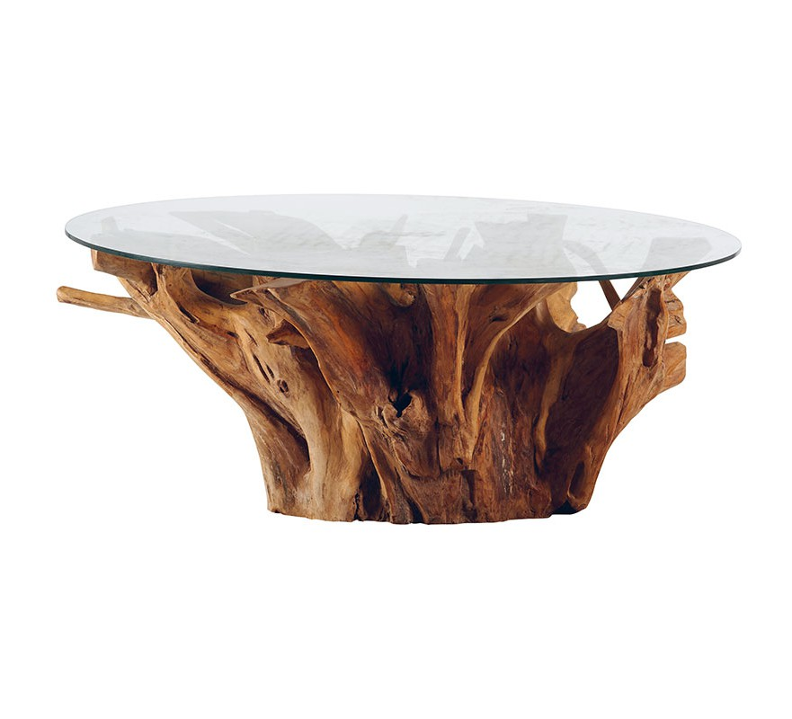 Table de salon ronde teck massif avec plateau verre roots 6738 - Table de salon ronde en bois ...