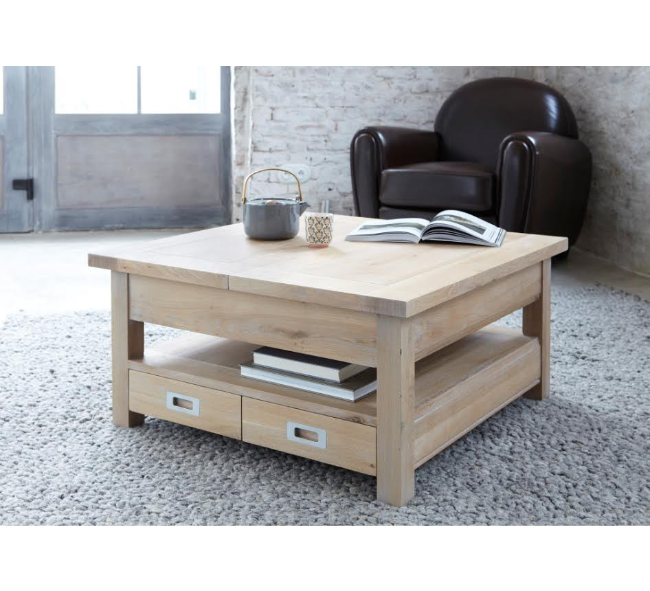 Table basse carree chene massif 3822 for Table basse carree grise