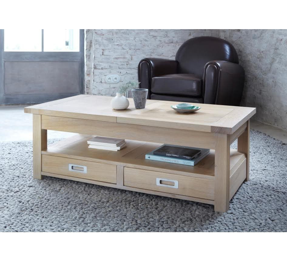 Table basse rectangulaire ch ne massif avec allonge bella for Table rectangulaire bois avec allonges