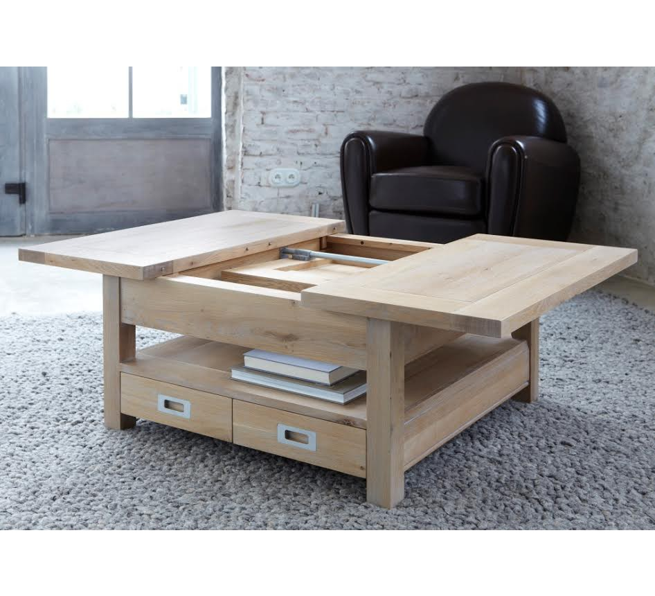 Table basse carr e ch ne massif grise bella 3822 - Table basse qui se transforme en table haute ...