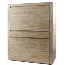 Armoire teck 4 portes &quot;univers gris Zago&quot; 