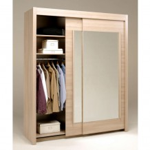 Armoire 2 portes coulissantes Cerisier clair &quot;Eclair&quot;
