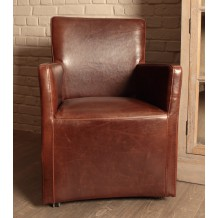 Fauteuil en cuir sur roulettes &quot;Vintage&quot;