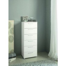 Commode moderne haute blanche 6 tiroirs &quot;Coco&quot;