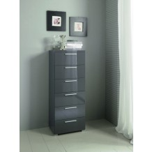 Commode moderne haute gris 6 tiroirs &quot;Coco&quot;