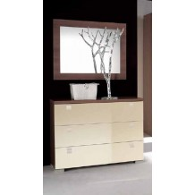 Commode moderne noyer fonc 3 tiroirs laqus crme &quot;Erable&quot; avec poignes horizontales et miroir
