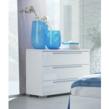 Commode moderne laque blanche 3 tiroirs &quot;Pivoine&quot;