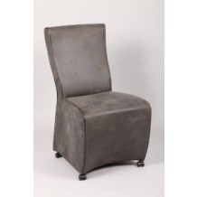 Lot de 2 fauteuils de salle  manger gris sur roulette &quot; Massu&quot; 