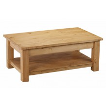 Table basse pin massif double plateau