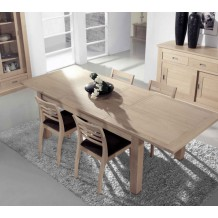 Table rectangulaire 2m20 avec 2 allonges chne massif &quot;Clara&quot;