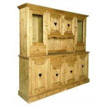 "Grand buffet vaisselier pin massif ""P'tit Coeur"""