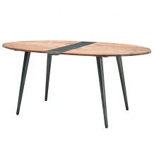 "Table vintage teck massif recyclé ""Streety"" 180cm"