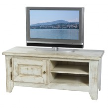 Meuble télé pin massif cérusé blanc 1 porte 2 niches Solea