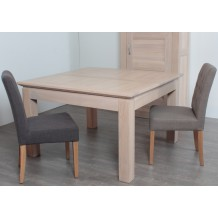 "Table carrée + allonge chêne massif ""Stockholm"" 140cm"