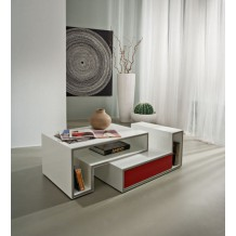 Table basse blanche moderne 1 tiroir rouge &quot;Cube&quot;