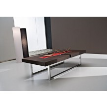 Table basse moderne marron/rouge &quot;Julien&quot; 125cm