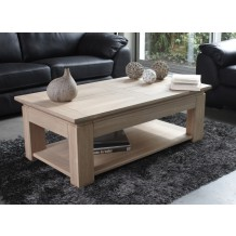 Table basse chne massif &quot;Stockholm blanchi&quot; 120cm